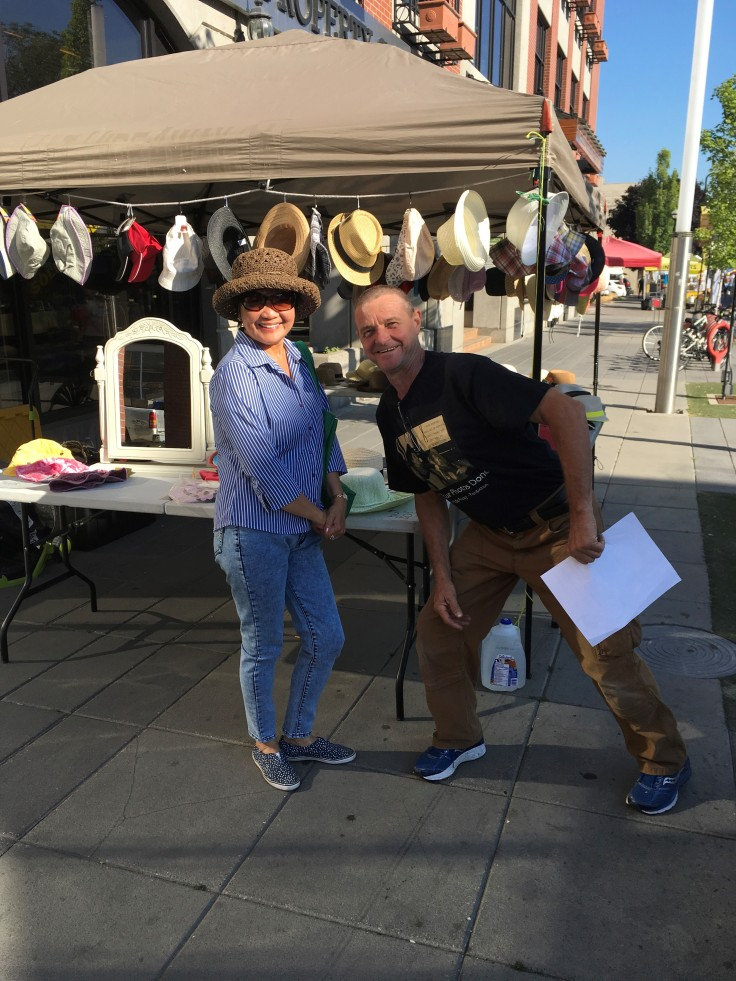 Shopping local Downtown Penticton, Saturday Market Hat HideAway