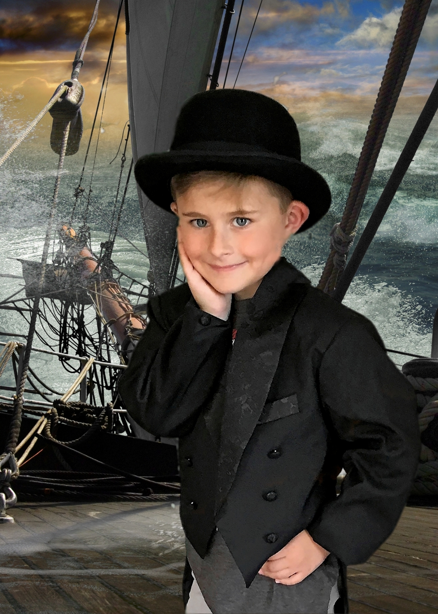 Lucas on a Pirate Ship in a Tuxedo